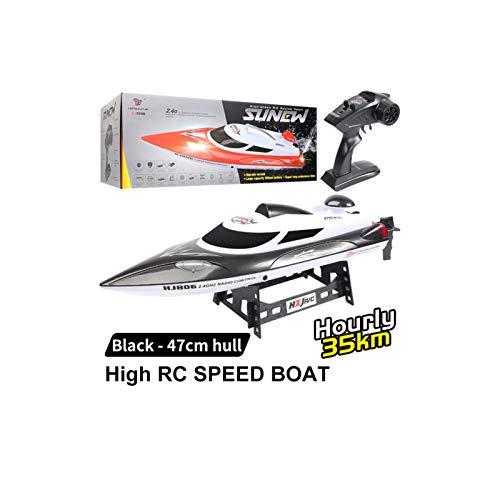 HONGXUNJIE Control RC Boot,Schnelle ferngesteuertes Boot für Pool und Seen,Hohe Geschwindigkeit 25/35 km/h/Abstand Indikator/Automatische Flip,Spielzeug Geschenk für Jungen Mädchen (806B-Black)