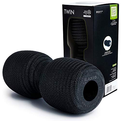 BLACKROLL® TWIN Faszienrolle inkl. Aussparung zur Entlastung der Wirbelsäule. Original Massagerolle für das Faszientraining mit durchschnittlichem Härtegrad in schwarz