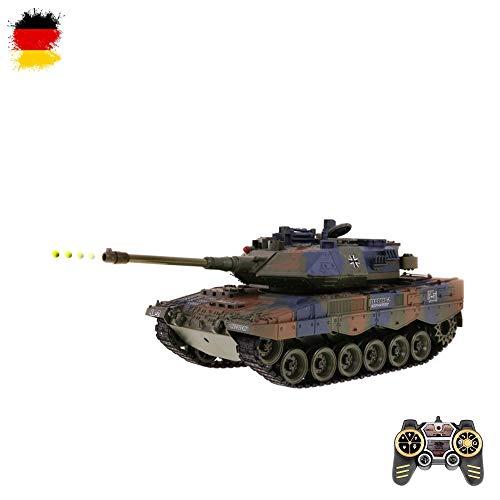 HSP Himoto German Leopard 2A6 - RC Ferngesteuerter Deutscher Panzer mit Schussfunktion, Sound, Licht Tank-Modell im Maßstab 1:18 inkl. Akku, USB-Ladekabel, Fernsteuerung und Munition, RTF