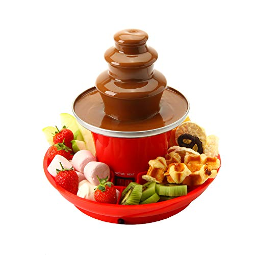 Global Gourmet Schokoladenbrunnen Mini-Fondue-Set mit Party Serviertablett im Lieferumfang enthalten | Elektrische 3-Ebenen-Maschine mit Heißschmelz-Topfboden | Warmhaltefunktion