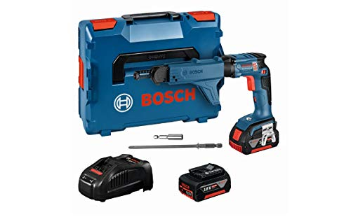 Bosch Professional 18V System Akku Trockenbauschrauber GSR 18V-EC TE (inkl. 2x5.0Ah Akku, Schnellladegerät, Magazinaufsatz inkl. Bit MA 55, L-BOXX 136)