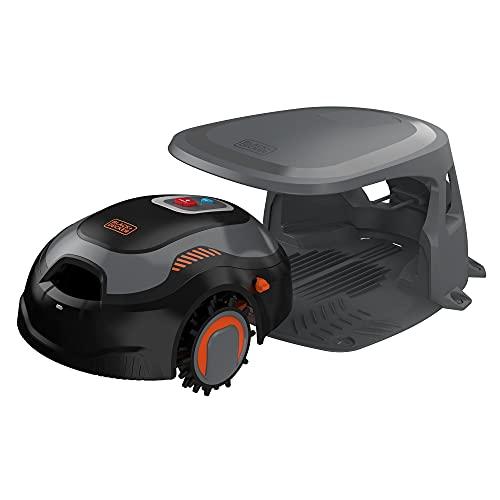 Black+Decker Mähroboter BCRMW123 (kompakter Akku-Rasenmäher für Rasenflächen bis 700m², 18 cm Schnittbreite, Schnitthöhe 15-60 mm, Steigungen bis 30%, mit Bluetooth-Steuerung via App, Diebstahlschutz)