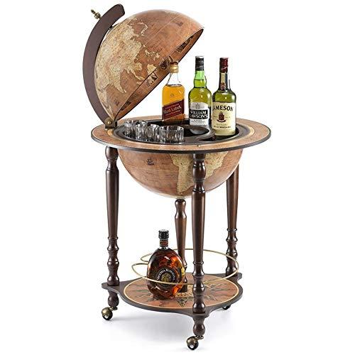 Zoffoli Globus Bar Da Vinci Rust 40 cm Weltkugel Hausbar mit Lenkrollen - Barschrank Getränkefach aus Nussbaumholz für Whiskey und Getränke