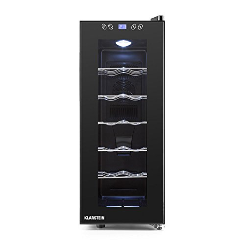 Klarstein Weinkühlschrank Vinamora Gastro Line (35 Liter, 12 Flaschen, LED-Beleuchtung, Energieklasse B, Temperatur: 11-18 ° C, 70 Watt, 5 Edelstahlböden, LCD-Bildschirm, Touch Panel) schwarz