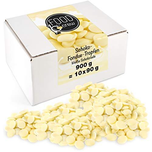 Sweet Wishes 900g Belgische weiße Fondue-Schokolade Drops - zart schmelzender Hochgenuss feine Leckerei für Schoko-Brunnen Fondue-Sets - beste Qualität - 10 Portionsbeutel zu je 90 g einzeln verpackt