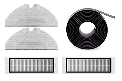 original Roborock Zubehör Set für Roborock E4, S5 & S6 Saugroboter Serie, 2 x Mikrofaser Wischtücher, 2 x HEPA Staubfilter, 1 x Magnetstreifen