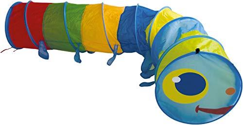Bieco XXL Krabbeltunnel ab 1 Jahr | 250 x 46 cm | Spieltunnel Kind und Baby | Farbenfroh | Tausendfüssler | Tunnel Kinder | Spielzelt | Hundetunnel | Hunde Spieltunnel |Krabbeltunnel Baby