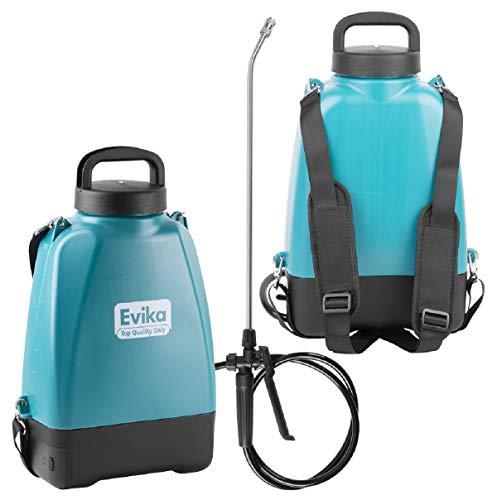 EVIKA Akku Drucksprüher 8 Liter | Rückenspritze mit Akku | 10.8V Li-Ion Batterie | 52cm Sprühlanze | Einstellbare Messingdüse | Gartenspritze Drucksprüher
