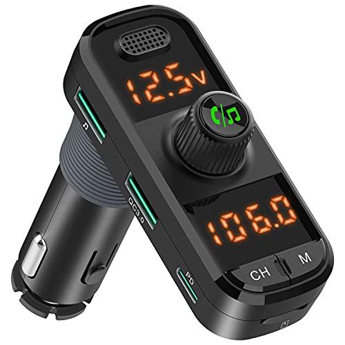 Bluetooth 5.0 FM Auto Transmitter Radioempfänger mit 2 verstärkten Mikrofonen, 41W PD QC 3.0 USB Autoladegerät, Aux in/Out Drahtloser Audio Musik Adapter, mit Freisprechfunktion und Sprachassistent