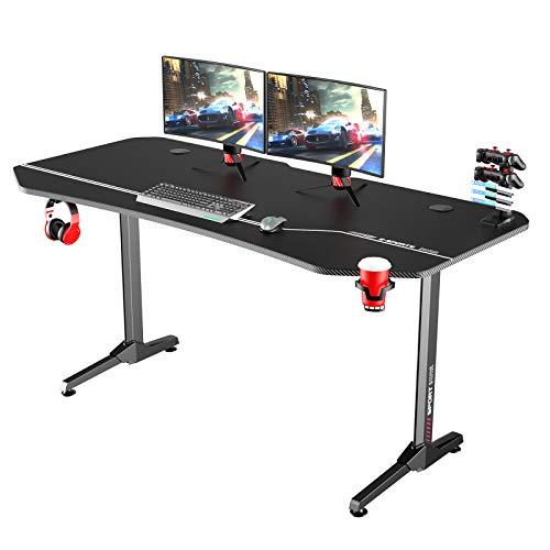 soges 63'' Gaming Tisch Computertisch Schreibtish PC Tisch für Gamer E-Sport mit wasserdichtem Mauspad in Tischform,XXL Computer Workstation T-Förmiger mit Getränkehalter,Kopfhörerhalter,160*75*75CM