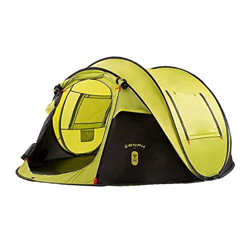 Zenph Pop Up Zelt, Automatisches Outdoor-Zelt Schnellöffnungs Wurfzelt mit Tragetasche, Grüne (4-5 Personen)