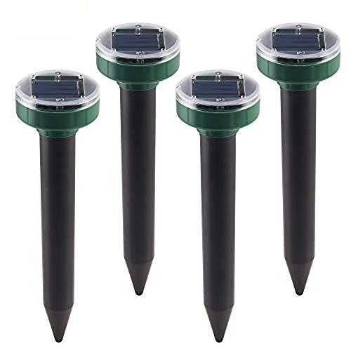 ABEDOE 4PCS Ultraschall-Sonnenschutzmittel für Mole, Wasserdichter LED-Maulwurfsfanggarten für Schlangen, Wühlmäuse, Gopher und Ratten