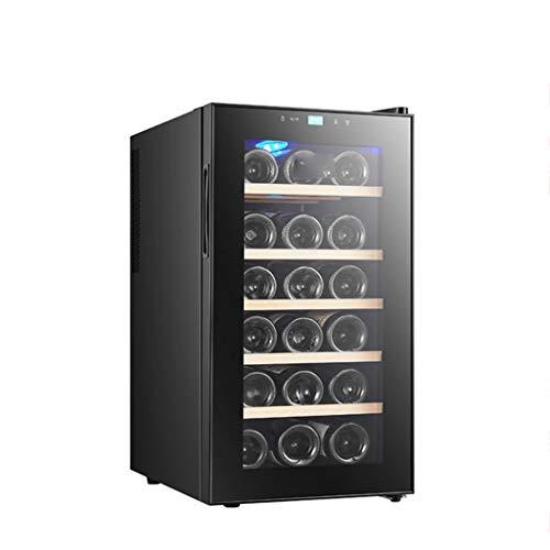 XJBHRB Weinkühlschrank, 18 Flaschen Weintemperierschrank, Getränkekühlschrank Temperaturzonen 11-18 ° Touchscreen, Weinkühlschrank, schwarz