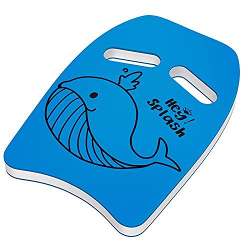 HeySplash Schwimmbrett, Kinder Schwimmhilfe PE Schaumstoff Schwimmen Kickboard mit Griffen und Cartoon Muster Schwimmbrett Kick für Kinder Schwimmtraining Lernen Spielen am Pool See, Blau