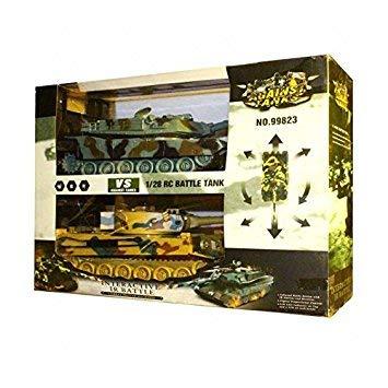 s-idee® 99823 2 x Battle Panzer 1:28 mit integriertem Infrarot Kampfsystem 2.4 Ghz RC R/C Ferngesteuerter Panzer, Tank, Kettenfahrzeug, IR Schussfunktion, Sound, Licht, Neu, 1:24, Schuss Sound