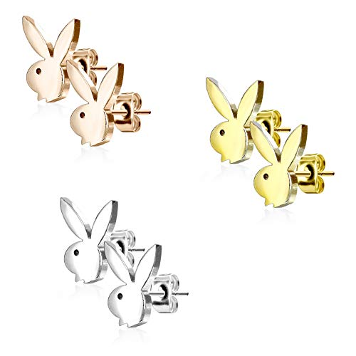 beyoutifulthings Damen 1 Paar Ohringe Ohr-ringe Set Ohr-stecker Edelstahl Chirurgenstahl Playboy-bunny gold rosé-gold silber
