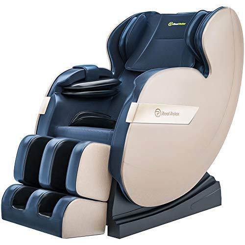 Real Relax Massagesessel, Zero-Gravity Massagestuhl für Ganzkörper mit Wärmefunktion Bluetooth Airbags Fussrollen Massage Relaxsessel für Hause und Büro, Favor-03 Plus(Blau)