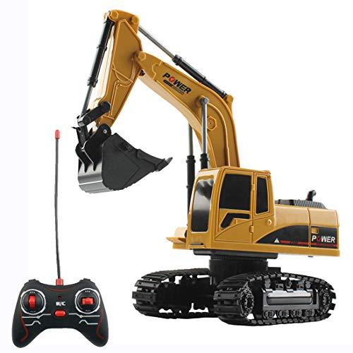 HYMAN Ferngesteuertes Bagger, 1:24 Maßstab 5CH RC Baufahrzeug Fahrzeug Bauspielzeug mit Licht für Kinder, 23 x 13 x 9 cm