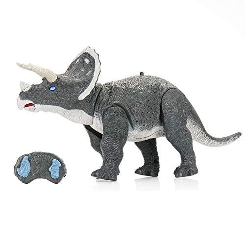 SainSmart Jr. Dinosaurier-Roboter, Triceratops, Fernbedienung, 35,6 cm lang, elektronisches Spielzeug mit eingebautem Lautsprecher und leuchtenden Augen, laufender Dino für Kinder ab 3 Jahren