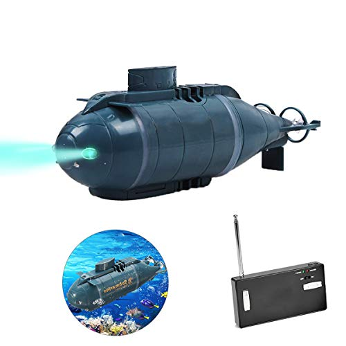 upstartech Mini-U-Boot mit Fernbedienung,Mini-Wasserfahrzeug Mit LED-Lichtern Mini-Außenboot im Außensee,USB-Aufladung, automatisches Einschalten bei Berührung mit Wasser Für Badewanne Schwimmbad
