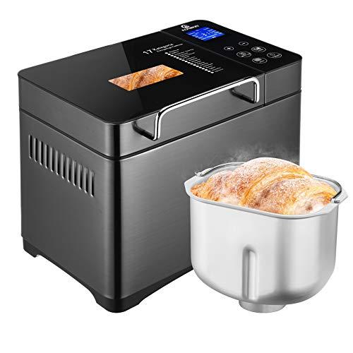 EONBON 710W Brotbackautomat, 1000g 17 programmierbarer XL-Brotbackautomat mit Frucht-Nuss-Spender, Antihaft-Keramikpfanne& Digitales Touchpanel, 3 Laibgrößen 3 Krustenfarben, Wärmehaltung, 7 Zubehör