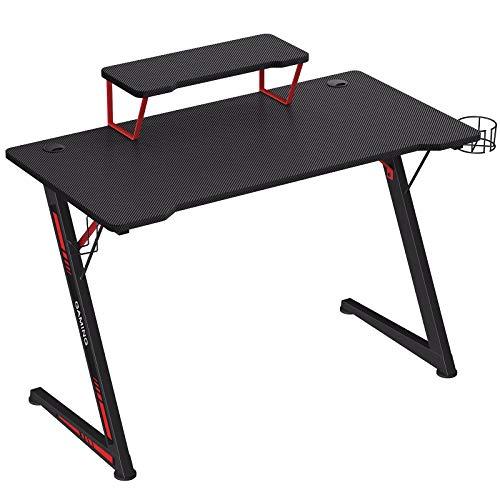 SONGMICS Gaming Tisch, Computertisch, mit Monitorständer, mit Halter für Kopfhörer und Trinkglas, multifunktional, Z-förmiges Stahlgestell, einfache Montage, schwarz-rot LGD001B01