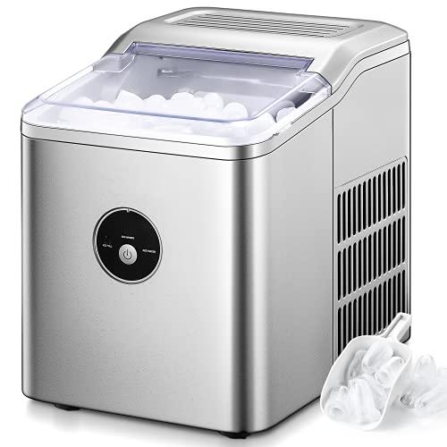 Eiswürfelmaschine, 12kg pro Tag, 6-8 Minuten Produktionszeit, 2 L, Leise DC-Fan, Runde Eiswürfel, Infrarotsensor, Einfache Bedienung Ice Maker, Eiswürfelbereiter ohne Wasseranschluss