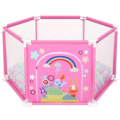 deAO Baby- und Kleinkinder Laufstall und Bällebad-Set mit 50 bunten Bällen für den Innenbereich (ROSA Hexagon)