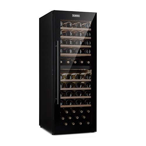 Klarstein Barossa - Weinkühlschrank mit Glastür, Weinkühler, Weintemperierschrank, 5 bis 18°C, leise, LED, Touch, Türanschlag beidseitig, höhenverstellbar, 77 Flaschen, schwarz