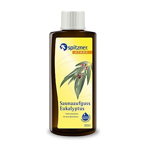 Spitzner Gesundheits-Saunaaufguss Eukalyptus frisch-intensiv 190 ml – Saunaöl mit Eukalyptus Minze Menthol, belebender erfrischender Saunaduft fördert tiefe Atmung