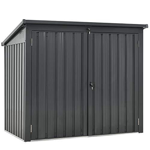 Juskys 2er Mülltonnenbox Genk 1,6m² grau| 2 Mülltonnen je 240 Liter I abschließbare Doppeltür I Metall Mülltonnenverkleidung Müllbox