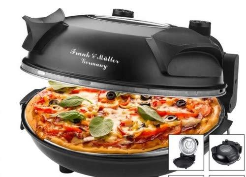Pizzaofen Pizza Maker 1200W 350C 32cm Schwarz Steinplatte Pfanne Pizzaschieber Heber und Schneider