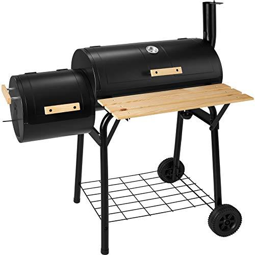 TecTake 400821 Holzkohlegrill Smoker mit Thermometer, Holzablage an der Grillvorderseite, Regulierbare Luftzu- und abfuhr