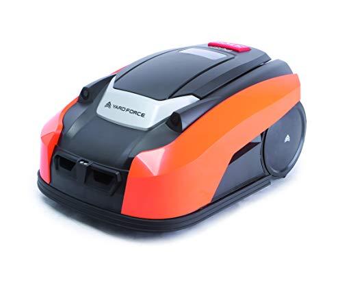 Yard Force X60i Mähroboter mit App-Steuerung - Selbstfahrender Rasenmäher Roboter mit Regensensor - Akku Rasenroboter für bis zu 600 m² Rasen & 40% Steigung 28 V, schwarz/orange