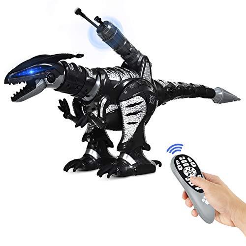 COSTWAY RC Interaktiv Dinosaurier Roboter mit Sound & LED-Effekte, Ferngesteuerter Dino Roboter programmierbar mit Kampfmodus, Musik-, Tanz- und Schießfunktion, für Kinder über 3 Jahre alt (Schwarz)