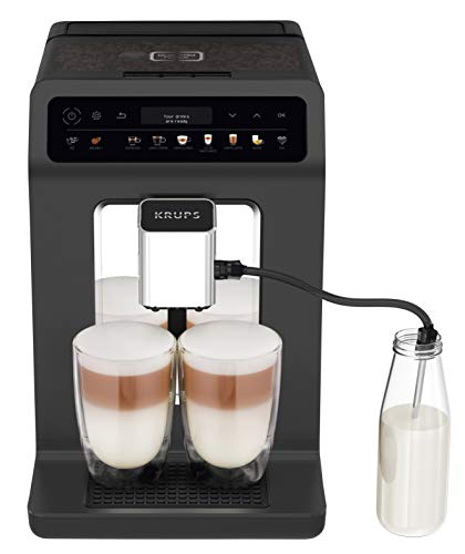Krups EA895N Kaffeevollautomat Evidence One | One-Touch-Cappuccino | Doppel-Tassen-Funktion | 12 Getränkespezialitäten | Farbdisplay | 2,3L Wassertank | 1450 Watt