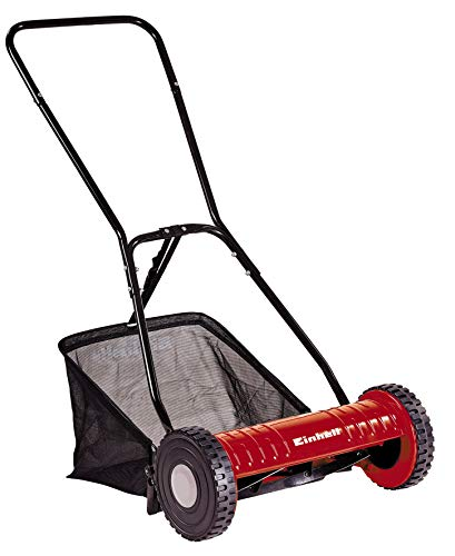 Einhell Hand-Rasenmäher GC-HM 40 (für bis zu 250 m², Mähspindel mit 5 Stahlmessern, 4-stufige Schnitthöhenverstellung 15 - 35 mm, Grasfangkorb)