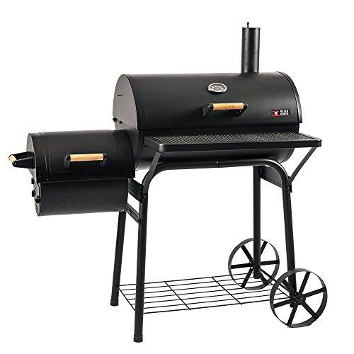 Mayer Barbecue RAUCHA Smoker MS-200 Pro Holzkohlegrill Smoker Grill, für direktes und indirektes Grillen, 29 kg, Schwarz, 124 x 124 x 72 cm (B x H x T)
