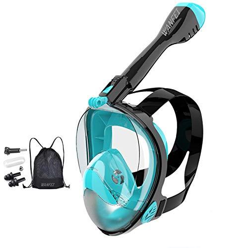WANFEI Schnorchelmaske Vollmaske Tauchmaske,Neuestes Fortschrittliches Sicherheitsatmungssystem Vollgesichtsmaske mit 180° Sichtfeld und Kamerahaltung (Schwarz/Grün, L/XL)