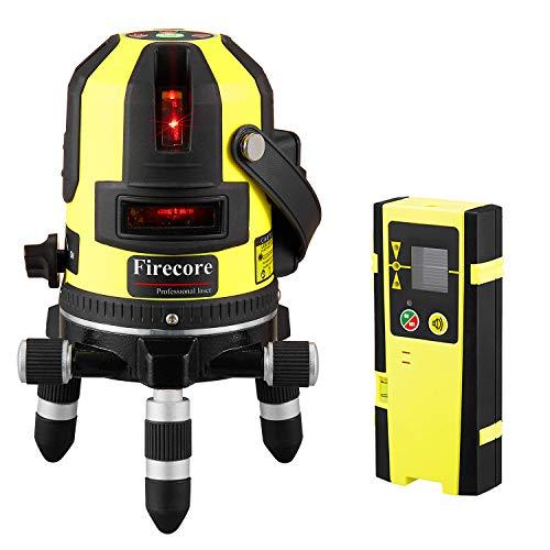 Firecore Rotationslaser Kreuzlinienlaser mit Empfänger Professionale selbstnivellierender Linienlaser mit Pulsmodus - Rot- FIR411R