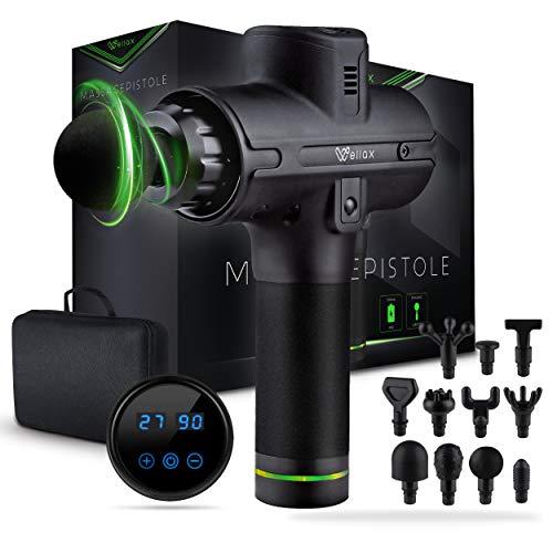 Wellax Massagepistole - Leistungsstarke Massage Gun mit 11 Massageköpfen [2600 mAh - 10h Laufzeit] - Massage Pistole mit LED Anzeige & Tragetasche - Schulter & Nacken