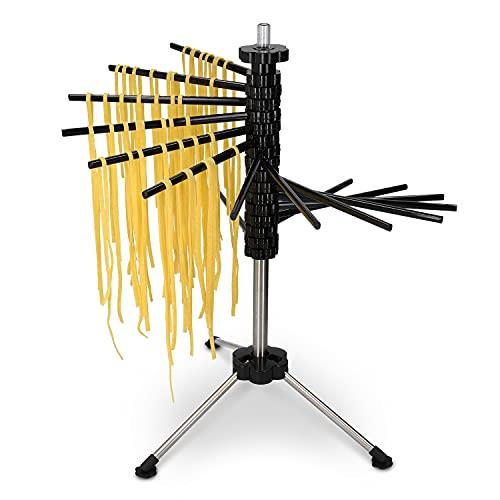 Navaris Nudeltrockner Nudel Ständer mit Rezept - Pasta Trockner aus Kunststoff und Edelstahl - 2kg Nudeln aufhängen - Pastatrockner in schwarz
