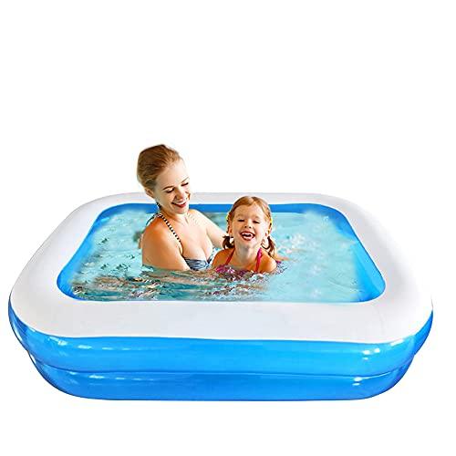 Planschbecken Swimmingpool Rechteckig Aufblasbar für Garten Balkon für Kinder Jungen Mädchen Leicht Aufbaubar Blau (128x85x45cm)