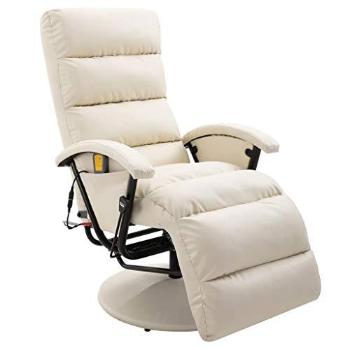 vidaXL TV Massagesessel mit Wärmefunktion Massage Elektrisch Fernsehsessel Relaxsessel Sessel Relaxliege Liegesessel Ruhesessel Cremeweiß Kunstleder