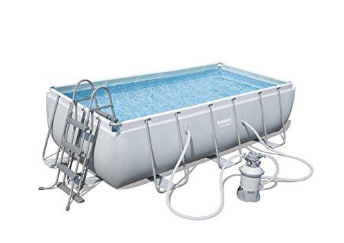 Bestway Power Steel Frame Pool Set viereckig, grau, 404 x 201 x 100 cm