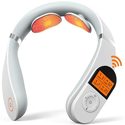 Nackenmassagegerät, SHEON Intelligentes Schulter Nackenmassagegerät mit Wärmefunktion, 6 Modi 16 Intensitätsstufen Elektrische Rückenmassagegerät Pulse Nackenmassagegerät Für Haus, Auto, Büro