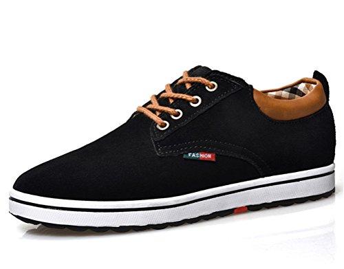ailishabroy Männer echtes Veloursleder Leder Aufzug Schuh Männer Höhe Erhöhung Schnürung Casual Schuhe (40 EU, schwarz)