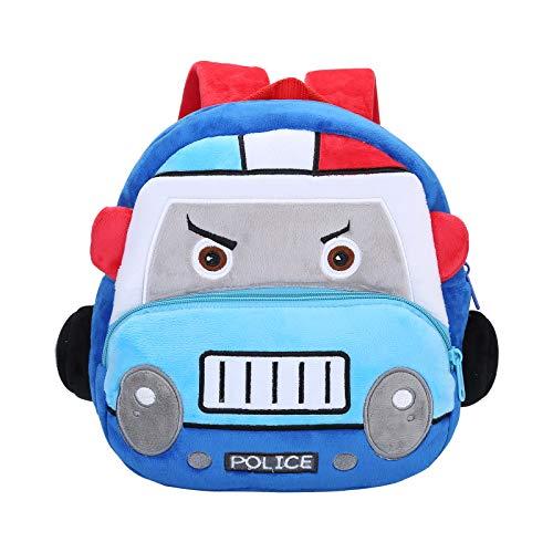 Nette Kleine Kleinkind Kinder Rucksack Plüsch Tier Cartoon Mini Kinder Tasche für Baby Mädchen Junge Alter 1-3 Jahre Blaues Polizeiauto