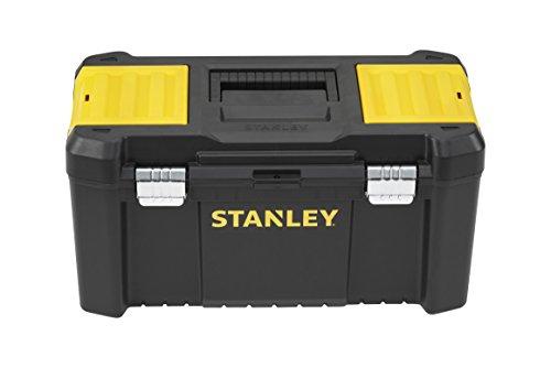 Stanley Werkzeugbox / Werkzeugkasten (19', 48.2x25.4x25cm, Beladung bis zu 8kg, Werkzeugkoffer mit Metallschließen, Organizer mit entnehmbarer Trage, robuster Koffer aus Kunststoff) STST1-75521