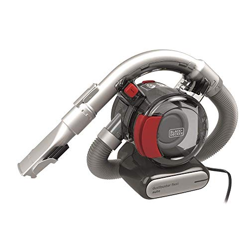Black+Decker PD1200AV-XJ Dustbuster PD1200AV Flexi PD1200AV Auto-/Handstaubsauger (mit flexiblem Saugschlauch mit 12V Anschluß Auto, Beutellos, 1x Staubsauger inkl. Fugendüse und Polsterbürste),Rot